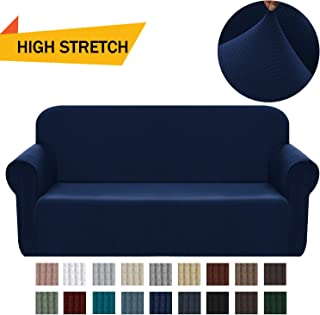 Chelzen Stretch Sofa Covers 1-Piece Polyester Spandex Fabric Living Room Couch Slipcovers (Large, Navy Blue)