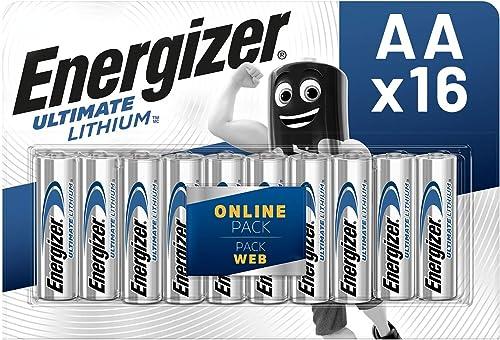 Energizer Piles AA, Ultimate Lithium, Lot de 16