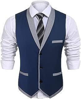 Men's Suit Vest Slim Fit V Neck Dress Waistcoat Business Wedding Vests