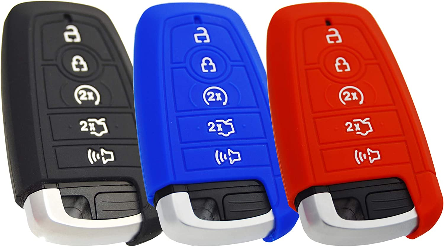 Silicone Key Fob Cover Protector for Ford Mustang Fusion Raptor F150 F250 Explorer Expedition Bronco /& Lincoln Aviator Corsair 2020
