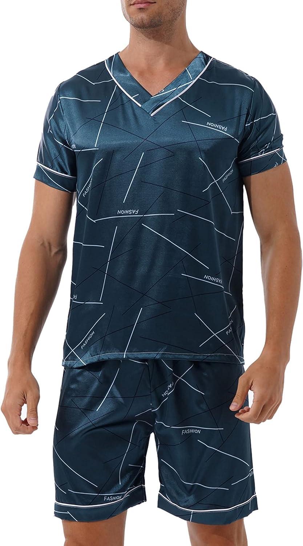 YiZYiF Men's Silk Satin Pajamas Set Sleeveless Vest Top and Boxer Shorts Sleepwear Loungewear