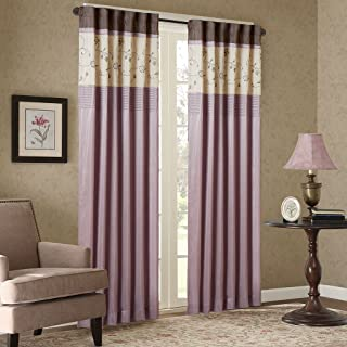 Madison Park Serene Blackout Embroidered Room-Darkening Window Treatment Curtains 1 Panel with Rod Pocket/Back Tab Drapes for Bedroom and Dorm, 50x84, Purple