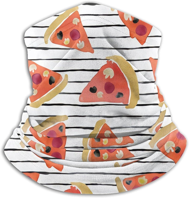 Pizza On Wobbly Stripe Bandanas Neck Gaiter Face Mask Scarf Face Shield Black