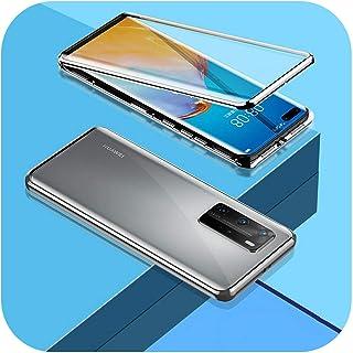 Aeong For Huawei P20 P30 P40 Honor Mate 20 30 30S Lite 9X X10 Nova 6 7 SE 5i Pro両面ガラスカバー用360メタル電話ケース-Silver-Huawei P30