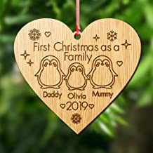 Howson London Personalised Christmas Xmas Tree Bauble - Wooden Xmas Family Tree Ornament/Decoration - Engraved Xmas Gift For Family For Couple