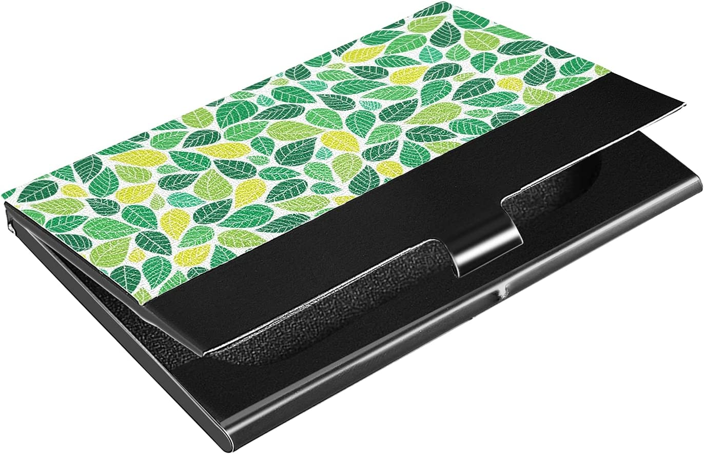 OTVEE Abstract Colorful Leaves Business Card Holder Wallet Stainless Steel & Leather Pocket Business Card Case Organizer Slim Name Card ID Card Holders Credit Card Wallet Carrier Purse for Women Men