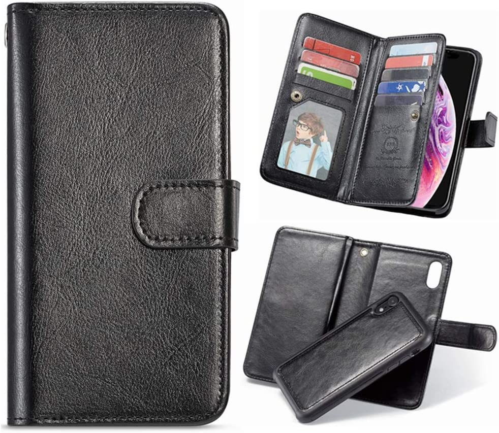 Hynice Detachable Wallet Case for iPhone Xs MAX 6.5, Leather Purse with 9 Card Slots Hand Strap Magnetic Closure Folio Flip Shock-Absorption Back Cover for Women Men (9Card-Black, iPhone Xs Max)