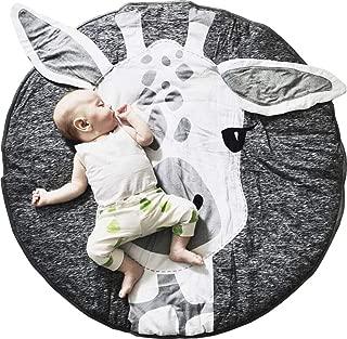 GABWE Round Giraffe Rug Carpet Cotton for Baby Floor Play mats Nursery Kids Room Decoration 35.4 inches