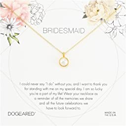 Bridesmaid Flower Card Large Bezel Pearl Pendant Necklace