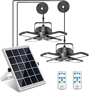 Solar Pendant Lights Adjustable Solar Panel with Dual Lamps Indoor Shed Light 128 LED IP65 Waterproof Outdoor Motion Senso...