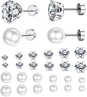 Jstyle 12Pairs Stainless Steel Round Clear Cubic Zirconia Pearl Stud Earring for Women CZ Earrings 3-8MM