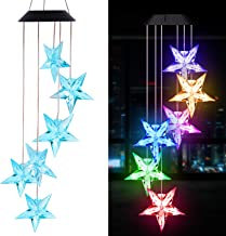 Solar Blue Stars Wind Chimes Outdoor- Waterproof Solar Powered LED Changing Light Color 6 Stars Mobile Romantic Wind-Bell for Home, Party, Festival, Night Garden Decoration, Gifts for Mom(blackboard)