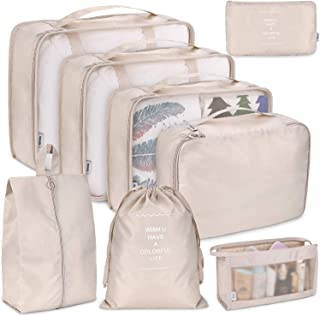 Cloudsky 7PCS Luggage Suitcase Organizer + 1PCS Free Cosmetic Pouch, Lightweight Waterproof Oxford Packing Cubes for Clothing Sorting, Travel Accessories