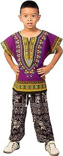 Unisex Child Kids Traditional African Printed Dashiki T-Shirt Tops