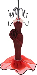 """Mozlly Doll Jewelry Holder in Metallic Detail Flower Gown, 10"""" inch Fashionable, Unique & Stylish Mannequin Stand, Metal H..."""