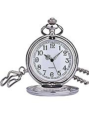 [ザイガー]Zeiger 懐中時計 手巻き式 シンプル メンズ レディース チェーン 蓋付き 時計 ローマ数字 両面スケルトン ポケットウォッチ シルバー