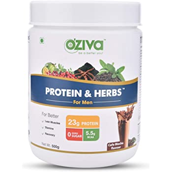 OZiva Protein & Herbs for Men, Cafe Mocha, 16 Servings, 0g added Sugar