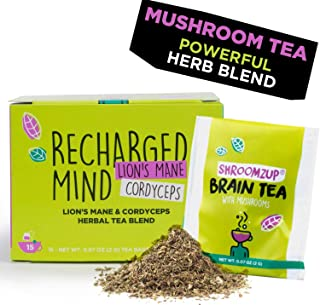 Sponsored Ad - Mushroom Brain Tea with Lions Mane and Cordyceps Mix for Weight Loss Brain Memory 15 Bags Mental Focus Ener...
