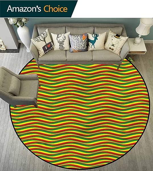 RUGSMAT Rasta Non Slip Area Rug Pad Round Ethiopian Wavy Stripes Home Decor Foor Carpet Diameter 35
