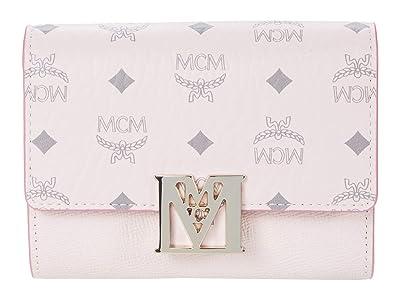 MCM Mena Visetos Leather Block Flap Wallet/Trifold Small (Powder Pink) Handbags
