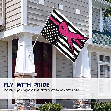 BAIFUMEN Breast Cancer Awareness Ribbon Garden Sign Vivid Color and UV Fade Resistant Polyester Outdoor Garden Decor Porch Li
