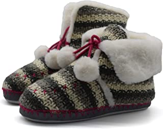 Girls Boys Woolen Knit Slippers Boots Fuzzy Faux Fur Foam House Booties Pom Pom Plush Indoor Shoes for Toddler Kids Children