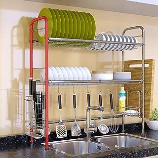 Étagère en acier inoxydable Rack Support de rangement de cuisine de conception creuse , Durable pour la vaisselle organisé...