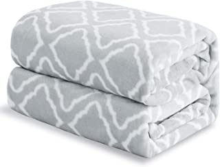 Bedsure Flannel Fleece Blanket Printed - Lattice Scroll - Blanket for Bed, Couch, Car, Office, Camping Travel and Gifts - Twin Size, 60 x 80 inches, Light Grey
