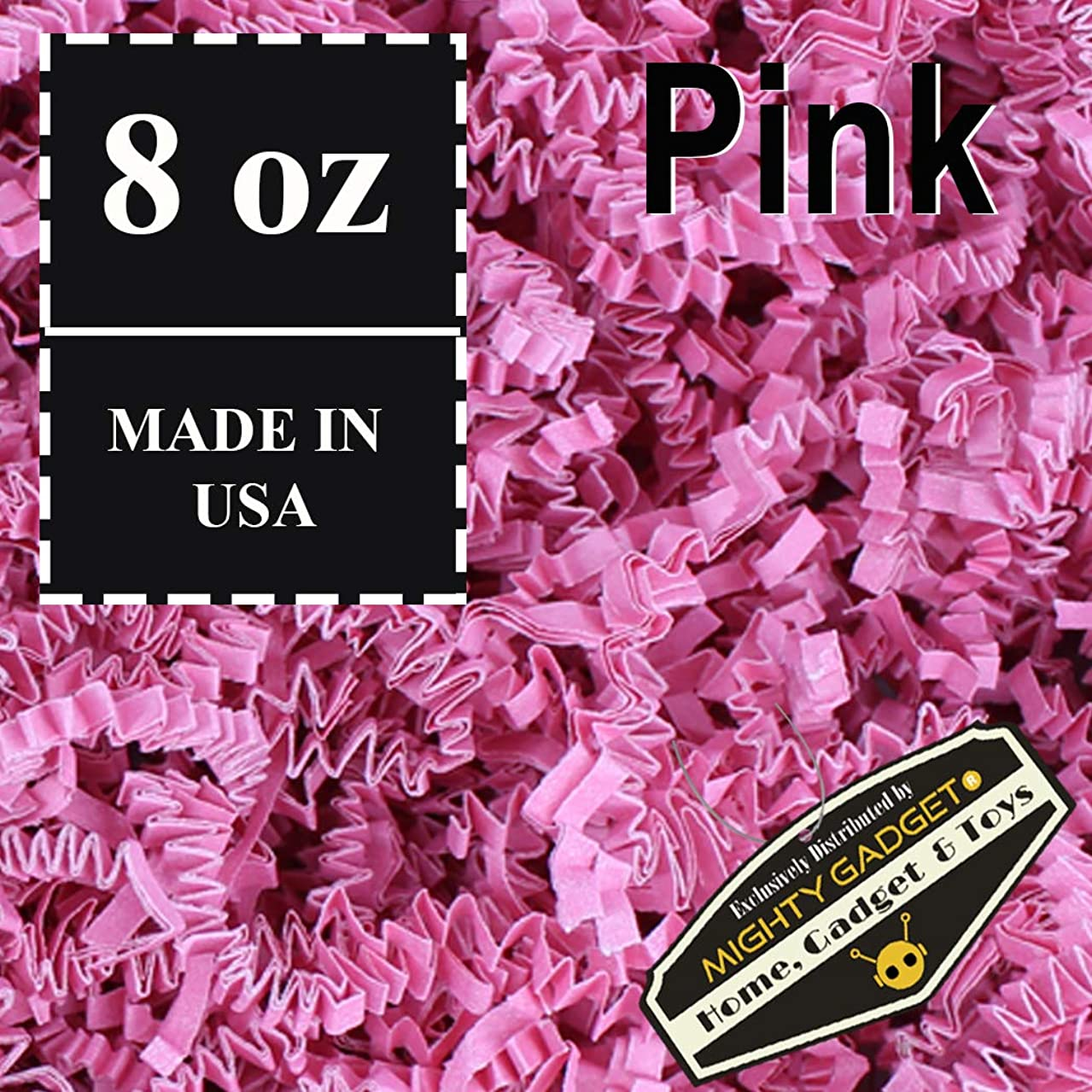 Mighty Gadget (R) 1/2 LB Pink Crinkle Cut Paper Shred Filler for Gift Wrapping & Basket Filling