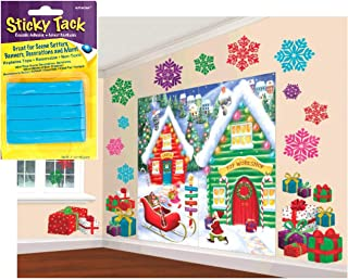 Winter Wonderland Christmas Party North Pole Giant Scene Setter Wall Decorating Kit: Also Includes Sticky Tack Adhesive