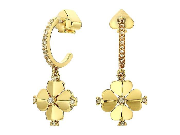 Kate Spade New York  Legacy Logo Spade Flower Huggies Earrings (Clear/Gold) Earring