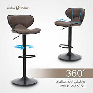 Sophia & William Bar Stool Set of 2 Adjustable Swivel Counter Height Chairs Water Resistant Retro Feather Fabric Bar Chairs for Bar Kitchen Indoor Outdoor Brown