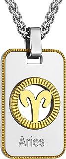 قلادة كوكبة برج الحمل من GoldChic للمجوهرات، عقد التنجيم 12 كوكبة برج الحمل، ستانلس ستيل علامة نجمة الكلب علامة قلادة قلاد...