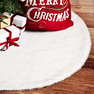 EDLDECCO 48 inch Snowy White Faux Fur Christmas Tree Skirt Luxury Soft Double Layers a Fine Decorative Handicraft for Holiday Party Pet Favors