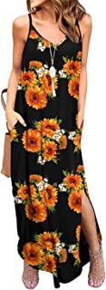TODOLOR Women's Summer Casual Loose Dress Sleeveless Beach Cover Up Long Cami Maxi Dresses with Pocket