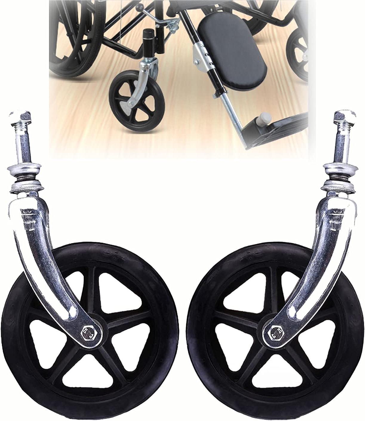 Long Beach Finally popular brand Mall ASDFGHJ Wheelchair Caster Accessories 6in Pair of Black Wh 15cm
