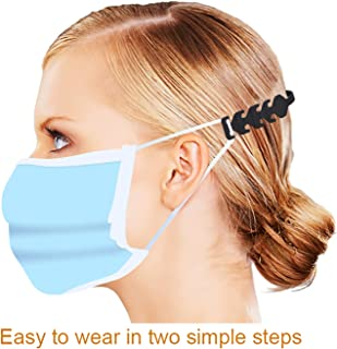 Labato Mask Extender Hooks Adjustable Mask Ears Saver Protector Cord Buckle, Mask Extension Holder Strap Relieves Discomfort in Your Ears, Compatible with All Masks and Kid Mask (Black, 5PCS)