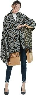 Women's Fashion Leopard Print Scarf Winter Warm Wrap Oversized Shawl Cape