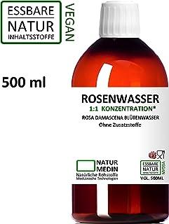 ROSENWASSER 500-ml Gesichtswasser, 100% naturrein, 1:1 Konzentration, Rosa damascena Blüttenwasser, ohne Zusatzstoffe, PET Braunflasche, nachhaltig, essbar