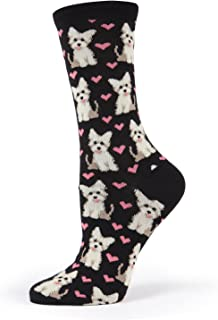 MeMoi Yorkie & Westie Bamboo Crew Puppy Love Novelty Socks