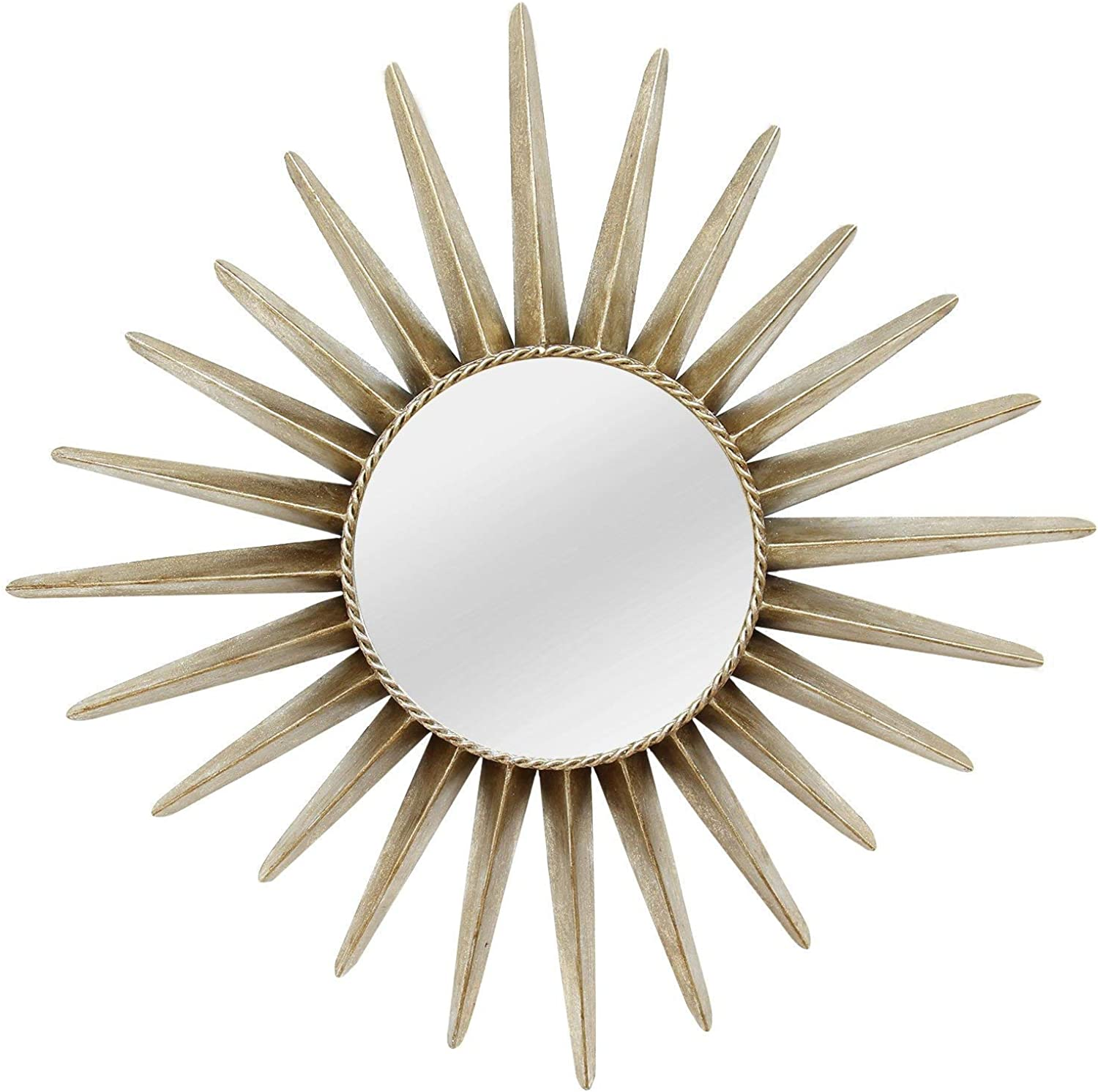 HomeRoots Furniture Round Sunburst Wall Mirror (321366)