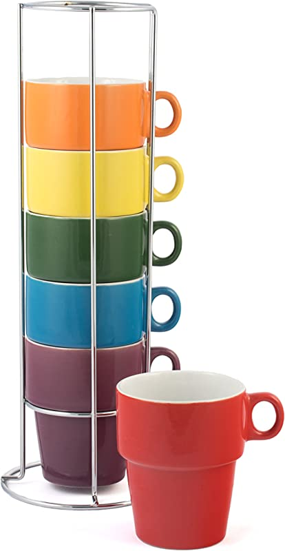 Gypsy Color 12 OZ Cappuccino Stacking Coffee Mug Set With Metal Stand Rainbow Multicolor Hand Glazed Ceramic Stoneware