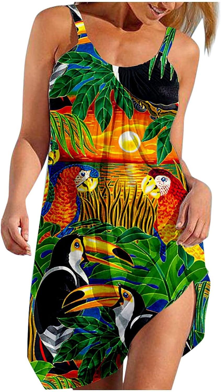 Summer Dresses for Women Casual Sleeveless Beach Sundress Sunflower Print Skirt Boho Animal Graphic Mini Dress
