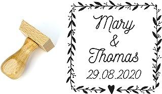 Timbro matrimonio personalizzato stile floreale, forma quadrata 4 cm, con nomi e data