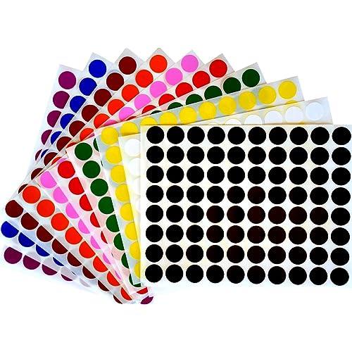 200 Negro 25 Mm 1 pulgada de código de color dots ronda de pegatinas Sticky ID de etiquetas