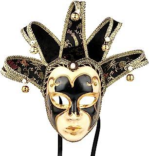 YU FENG Jester Bells Full Face Venetian Mask Black Jocker One Size Novelty Item