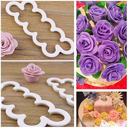 BeeSpring Sugar and Spice Kitchens Rose Fondant Cutters Edible Decorations 3 Piece Set PRO Cake Decorating Gum Paste Flowers Easiest Rose Ever 3 Steps Cookie Cutters Supplies Set of 3
