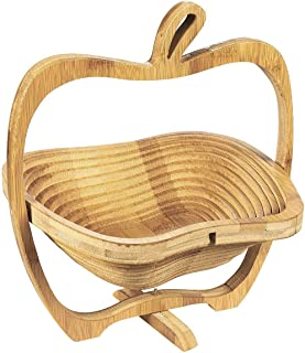 Juvale Apple Design Collapsible Bamboo Fruit Bowl - Fruit Basket, Brown, 10.5 x 11.7 x 8.7