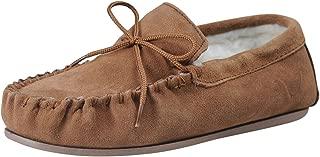 Nordvek Sheepskin Slippers Men - Warm Wool Lined Moccasin - Non-Slip Hard Sole # 422-100