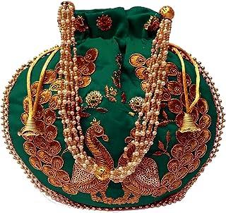 Indische ethnische Designer bestickte Seide Potli Tasche Batwa Perlen Griff Geldbörse Clutch für Frauen